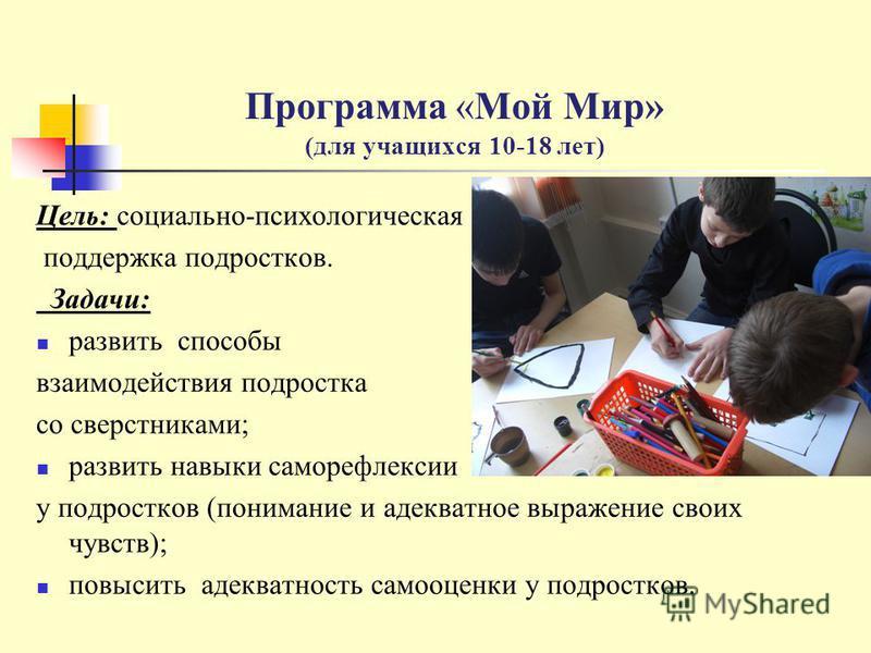 Программа «Мой Мир» (для учащихся 10-18 лет) Цель: социально-психологическая поддержка подростков. Задачи: развить способы взаимодействия подростка со сверстниками; развить навыки саморефлексии у подростков (понимание и адекватное выражение своих чув