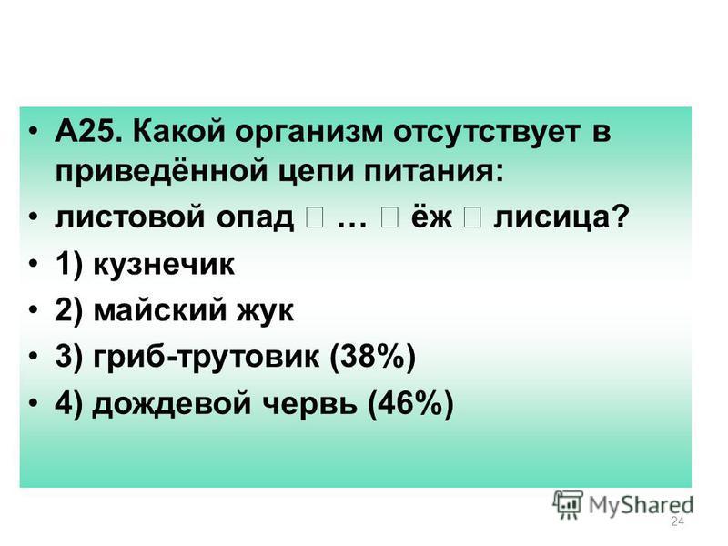 24 А25. Какой организм отсутствует в приведённой цепи питания: листовой опад … ёж лисица? 1) кузнечик 2) майский жук 3) гриб-трутовик (38%) 4) дождевой червь (46%)