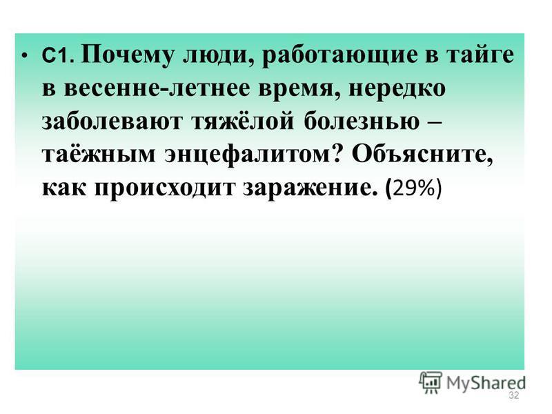 32 С1. Почему люди, работающие в тайге в весенне-летнее время, нередко заболевают тяжёлой болезнью – таёжным энцефалитом? Объясните, как происходит заражение. (29%)
