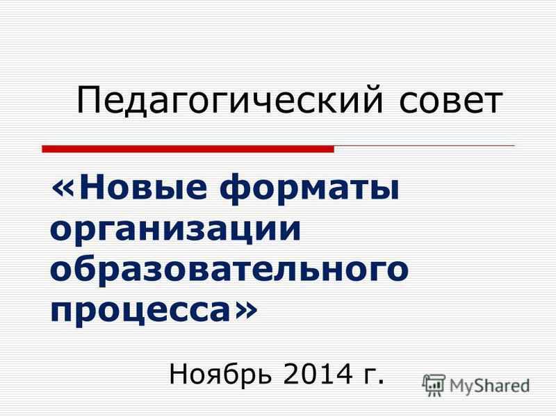 «Новые форматы организации образовательного процесса» Педагогический совет Ноябрь 2014 г.