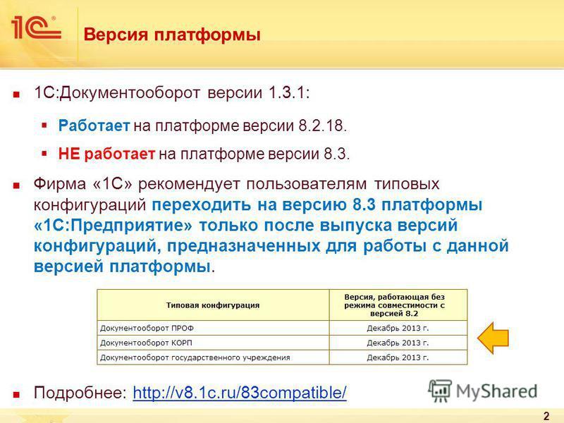 Версия платформы 1С:Документооборот версии 1.3.1: Работает на платформе версии 8.2.18. НЕ работает на платформе версии 8.3. Фирма «1С» рекомендует пользователям типовых конфигураций переходить на версию 8.3 платформы «1С:Предприятие» только после вып