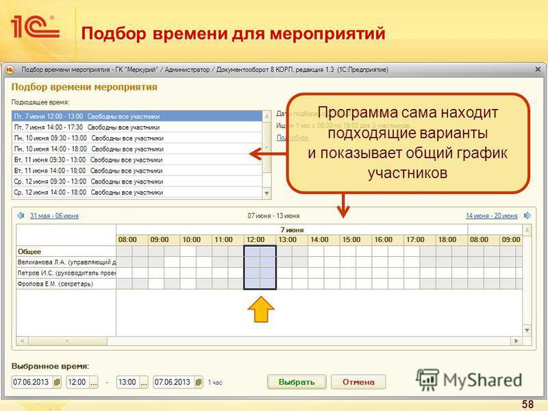 Подбор времени для мероприятий 58 Программа сама находит подходящие варианты и показывает общий график участников