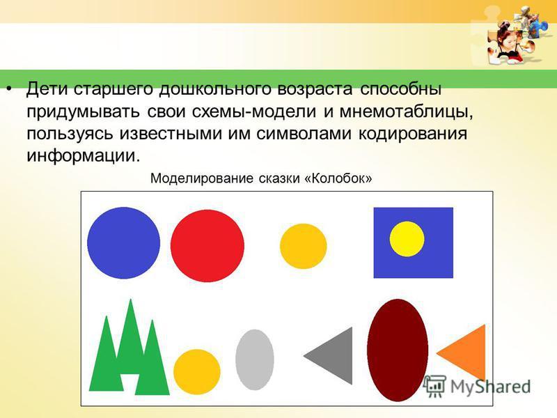 Дети старшего дошкольного возраста способны придумывать свои схемы-модели и мнемотаблицы, пользуясь известными им символами кодирования информации. Моделирование сказки «Колобок»