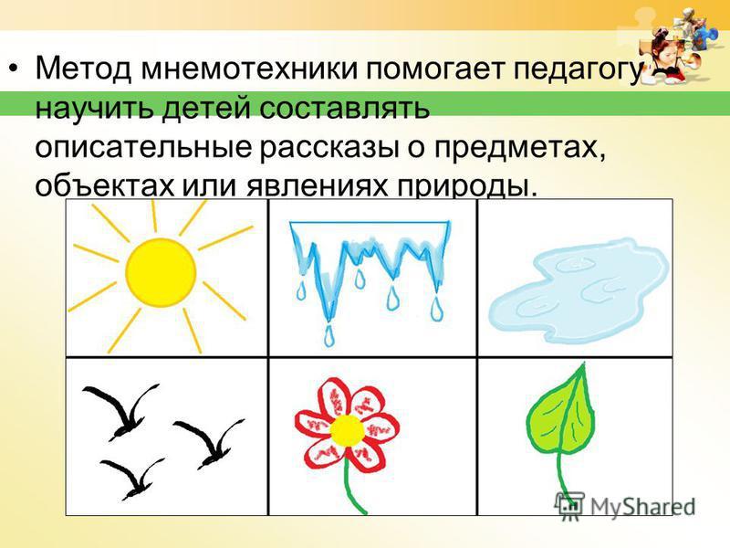 Метод мнемотехники помогает педагогу научить детей составлять описательные рассказы о предметах, объектах или явлениях природы.