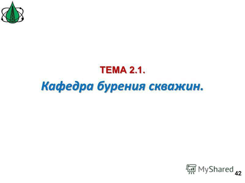 Кафедра бурения скважин. ТЕМА 2.1. 42