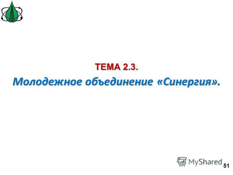Молодежное объединение «Синергия». ТЕМА 2.3. 51
