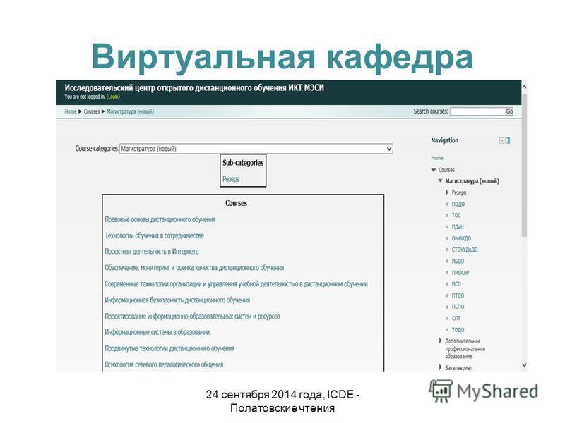 Виртуальная кафедра 24 сентября 2014 года, ICDE - Полатовские чтения