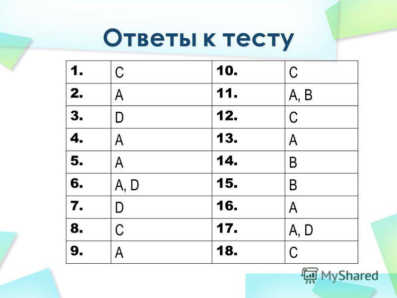 1. C 10. C 2. A 11. A, B 3. D 12. C 4. A 13. A 5. A 14. B 6. A, D 15. B 7. D 16. A 8. C 17. A, D 9. A 18. C
