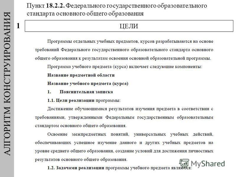 АЛГОРИТМ КОНСТРУИРОВАНИЯ ЦЕЛИ 1 Пункт 18.2.2. Федерального государственного образовательного стандарта основного общего образования