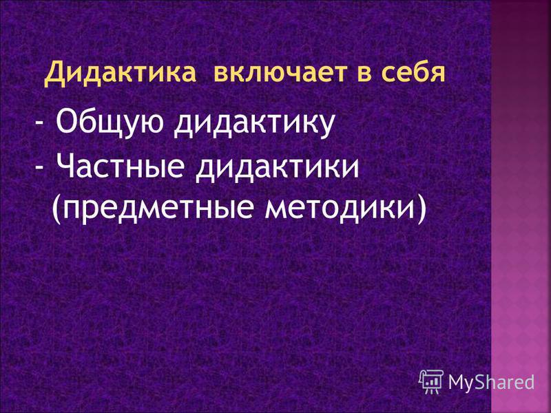 - Общую дидактику - Частные дидактики (предметные методики)