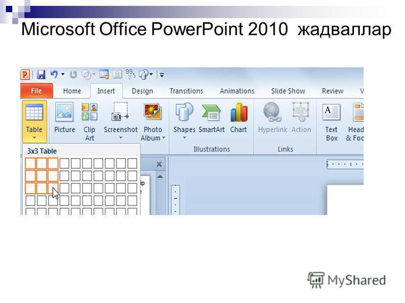 Microsoft Office PowerPoint 2010 жадваллар