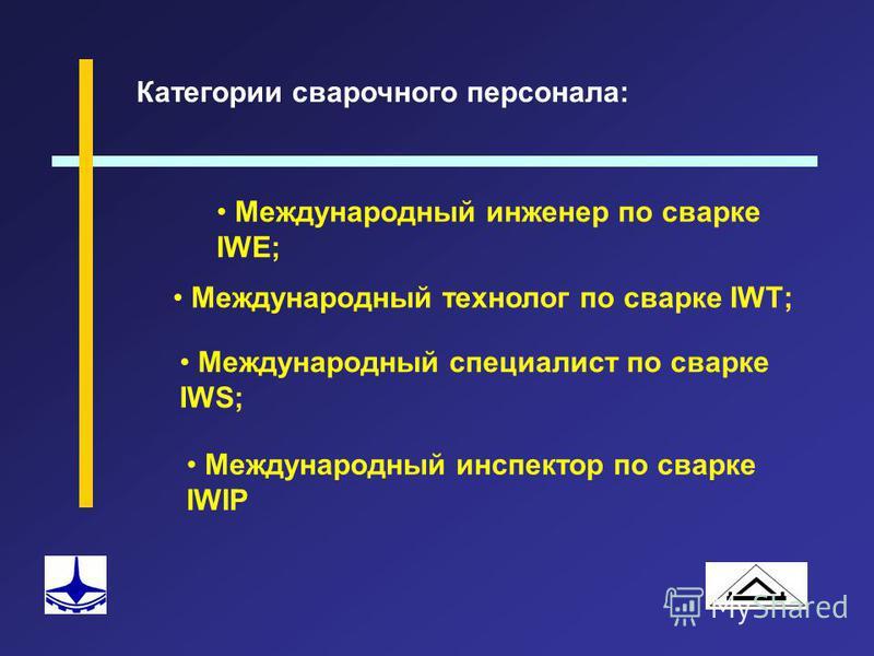 Категории сварочного персонала: Международный инженер по сварке IWE; Международный технолог по сварке IWТ; Международный специалист по сварке IWS; Международный инспектор по сварке IWIP