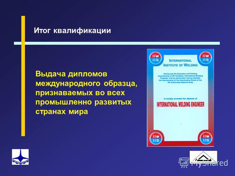 Выдача дипломов международного образца, признаваемых во всех промышленно развитых странах мира Итог квалификации