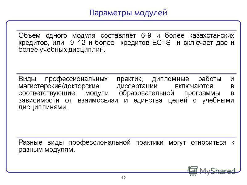 Объем одного модуля составляет 6-9 и более казахстанских кредитов, или 9–12 и более кредитов ECTS и включает две и более учебных дисциплин. Виды профессиональных практик, дипломные работы и магистерские/докторские диссертации включаются в соответству