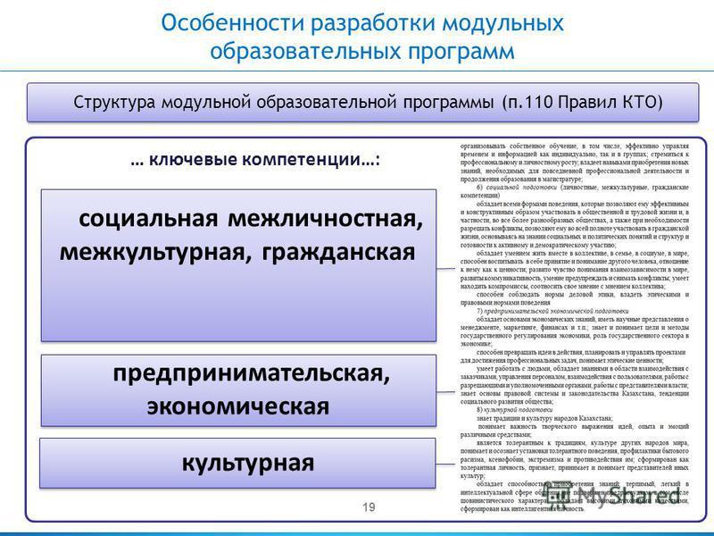 19 … ключевые компетенции…: социальная межличностная, межкультурная, гражданская предпринимательская, экономическая культурная Структура модульной образовательной программы (п.110 Правил КТО) Особенности разработки модульных образовательных программ