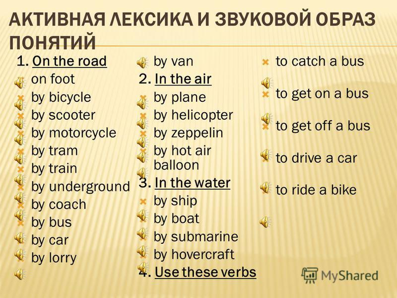 АКТИВНАЯ ЛЕКСИКА И ЗВУКОВОЙ ОБРАЗ ПОНЯТИЙ 1. On the road on foot by bicycle by scooter by motorcycle by tram by train by underground by coach by bus by car by lorry by van 2. In the air by plane by helicopter by zeppelin by hot air balloon 3. In the