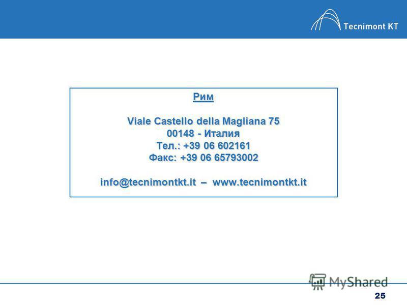 25 Рим Viale Castello della Magliana 75 00148 - Италия Тел.: +39 06 602161 Факс: +39 06 65793002 info@tecnimontkt.it – www.tecnimontkt.it