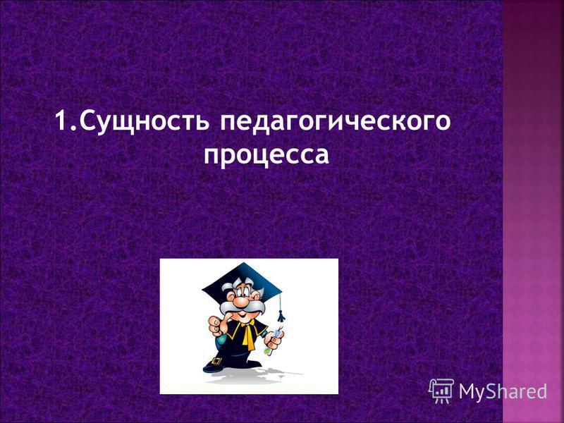 1. Сущность педагогического процесса