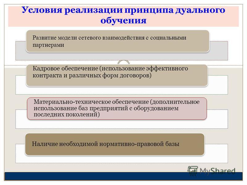 Условия реализации принципа дуального обучения Развитие модели сетевого взаимодействия с социальными партнерами Кадровое обеспечение (использование эффективного контракта и различных форм договоров) Материально-техническое обеспечение (дополнительное