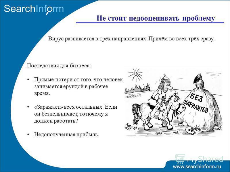 www.searchinform.ru Не стоит недооценивать проблему Вирус развивается в трёх направлениях. Причём во всех трёх сразу. Последствия для бизнеса: Прямые потери от того, что человек занимается ерундой в рабочее время. «Заражает» всех остальных. Если он б