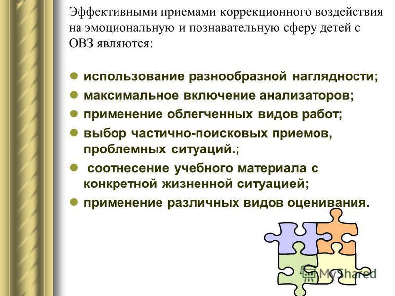 Эффективными приемами коррекционного воздействия на эмоциональную и познавательную сферу детей с ОВЗ являются: использование разнообразной наглядности; максимальное включение анализаторов; применение облегченных видов работ; выбор частично-поисковых