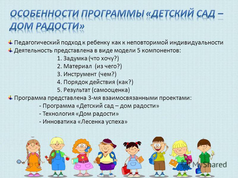 Педагогический подход к ребенку как к неповторимой индивидуальности Деятельность представлена в виде модели 5 компонентов: 1. Задумка (что хочу?) 2. Материал (из чего?) 3. Инструмент (чем?) 4. Порядок действия (как?) 5. Результат (самооценка) Програм