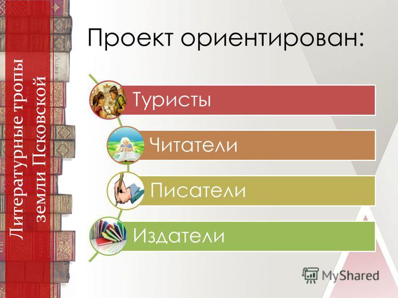 Проект ориентирован: Литературные тропы земли Псковской Туристы Читатели Писатели Издатели