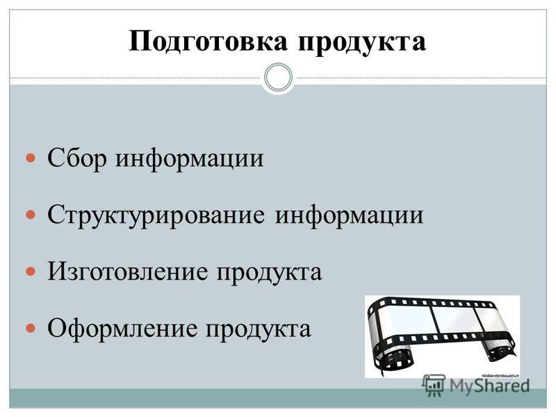 Подготовка продукта Сбор информации Структурирование информации Изготовление продукта Оформление продукта