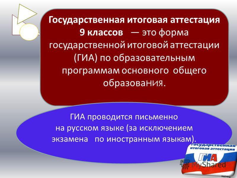Государственная итоговая аттестация 9 классов это форма государственной итоговой аттестации (ГИА) по образовательным программам основного общего образования. ГИА проводится письменно на русском языке (за исключением экзамена по иностранным языкам).