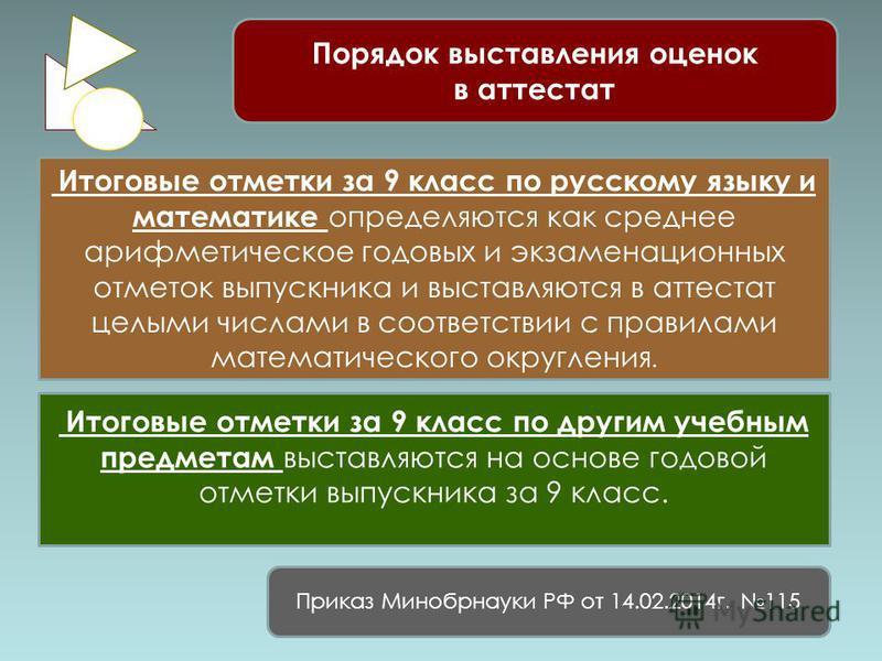 Порядок выставления оценок в аттестат Итоговые отметки за 9 класс по русскому языку и математике определяются как среднее арифметическое годовых и экзаменационных отметок выпускника и выставляются в аттестат целыми числами в соответствии с правилами