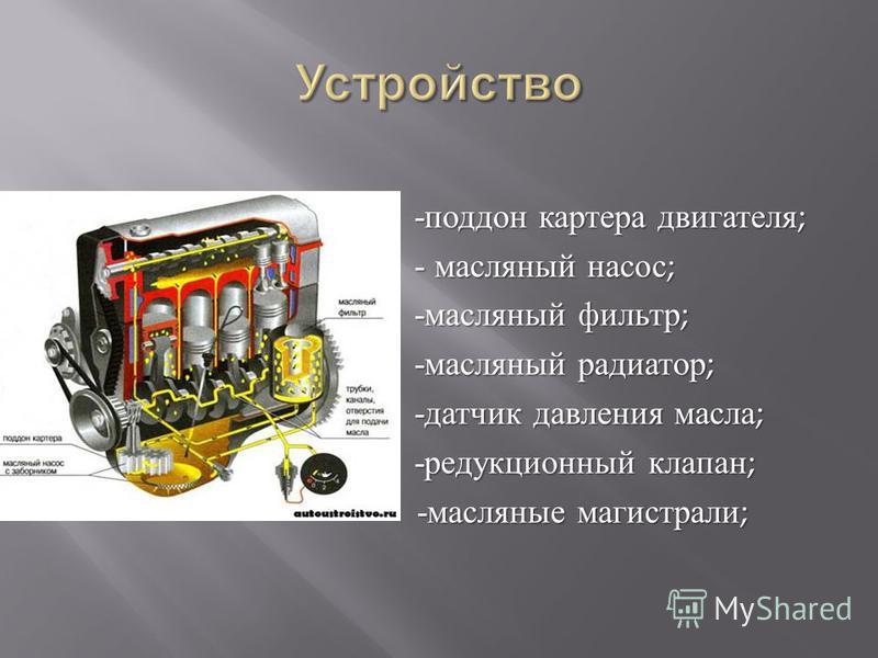 - поддон картера двигателя ; - масляный насос ; - масляный насос ; - масляный фильтр ; - масляный фильтр ; - масляный радиатор ; - масляный радиатор ; - датчик давления масла ; - датчик давления масла ; - редукционный клапан ; - редукционный клапан ;