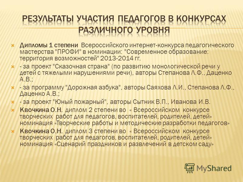 Дипломы 1 степени Всероссийского интернет-конкурса педагогического мастерства