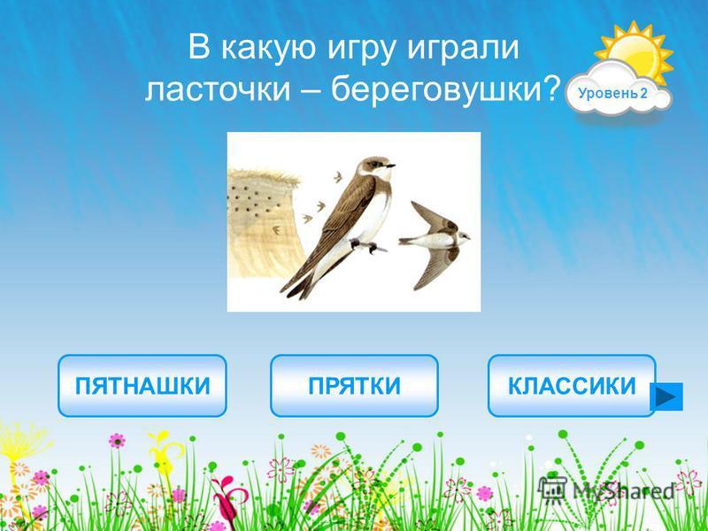 ПЕНОЧКАЧОМГАЗУЁК Какая птичка строит домик на воде из сухого тростника? ПРАВИЛЬНЫЕ ОТВЕТЫ Уровень 1