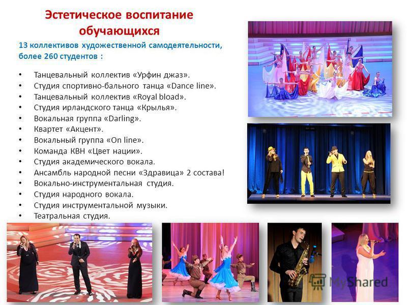 13 коллективов художественной самодеятельности, более 260 студентов : Танцевальный коллектив «Урфин джаз». Студия спортивно-бального танца «Dance line». Танцевальный коллектив «Royal bload». Студия ирландского танца «Крылья». Вокальная группа «Darlin