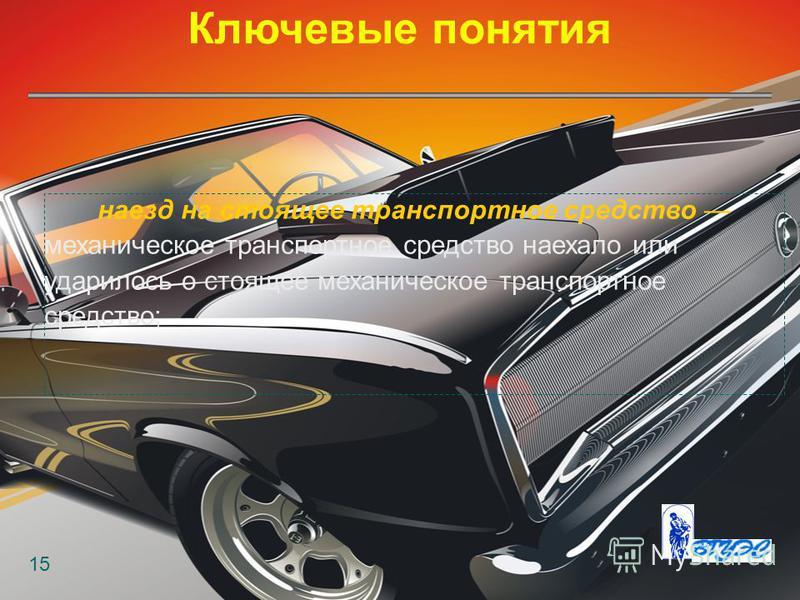 Ключевые понятия 15 наезд на стоящее транспортное средство механическое транспортное средство наехало или ударилось о стоящее механическое транспортное средство;