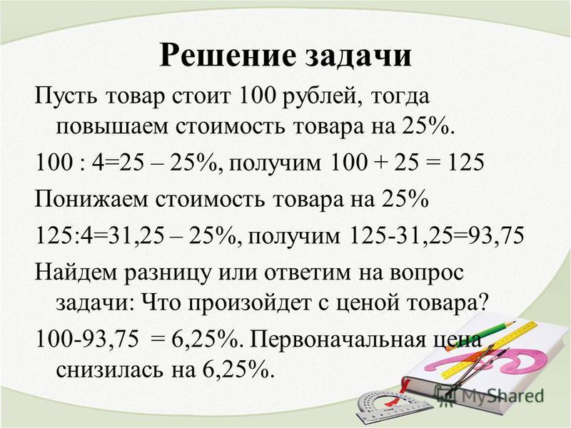Решение задачи Пусть товар стоит 100 рублей, тогда повышаем стоимость товара на 25%. 100 : 4=25 – 25%, получим 100 + 25 = 125 Понижаем стоимость товара на 25% 125:4=31,25 – 25%, получим 125-31,25=93,75 Найдем разницу или ответим на вопрос задачи: Что