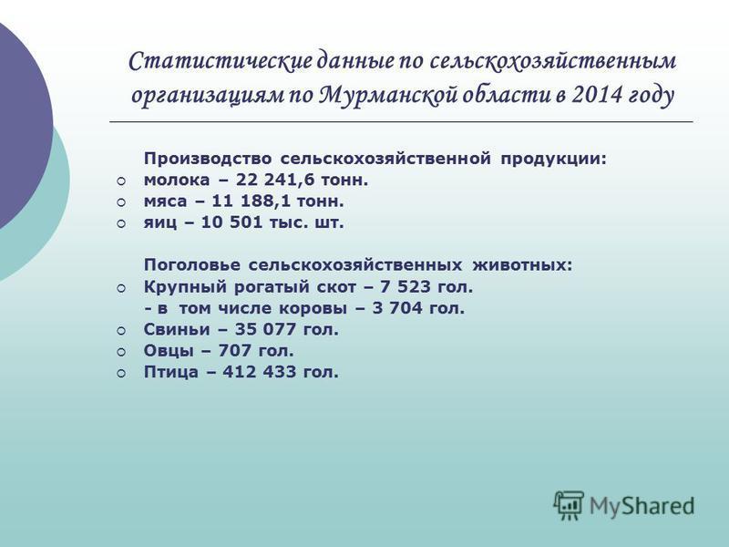 Статистические данные по сельскохозяйственным организациям по Мурманской области в 2014 году Производство сельскохозяйственной продукции: молока – 22 241,6 тонн. мяса – 11 188,1 тонн. яиц – 10 501 тыс. шт. Поголовье сельскохозяйственных животных: Кру