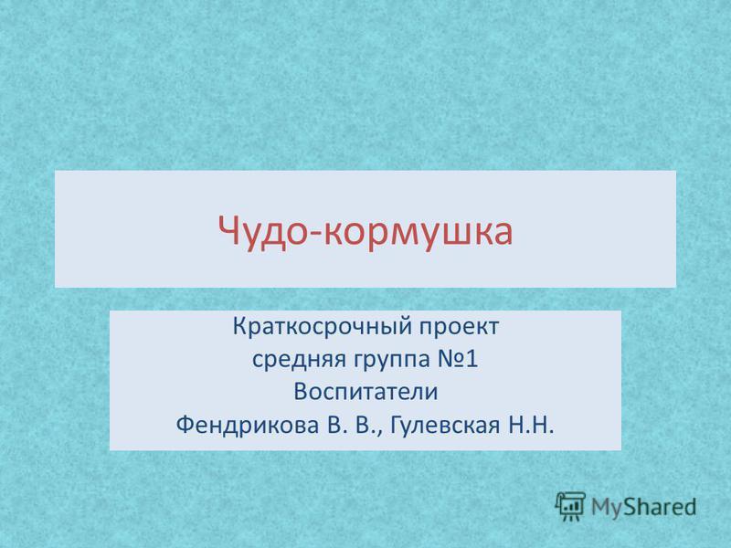 Чудо-кормушка Краткосрочный проект средняя группа 1 Воспитатели Фендрикова В. В., Гулевская Н.Н.