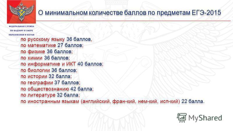 О минимальном количестве баллов по предметам ЕГЭ-2015 по русскому языку 36 баллов, по математике 27 баллов; по физике 36 баллов; по химии 36 баллов; по информатике и ИКТ 40 баллов; по биологии 36 баллов; по истории 32 балла; по географии 37 баллов; п