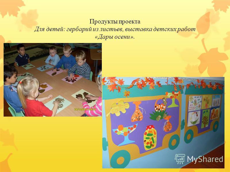 Продукты проекта Для детей: гербарий из листьев, выставка детских работ «Дары осени».