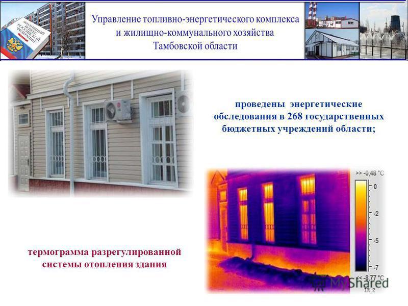 проведены энергетические обследования в 268 государственных бюджетных учреждений области; термограмма раз регулированной системы отопления здания