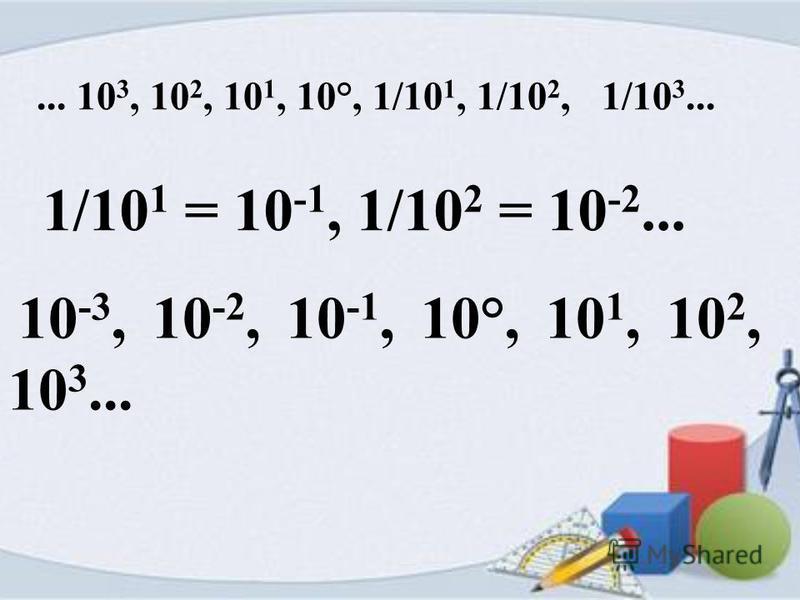 ... 10 3, 10 2, 10 1, 10°, 1/10 1, 1/10 2, 1/10 3... 1/10 1 = 10 -1, 1/10 2 = 10 -2... 10 -3, 10 -2, 10 -1, 10°, 10 1, 10 2, 10 3...