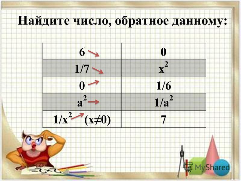 Найдите число, обратное данному: 60 1/7 х 2 х 2 01/6 а 2 а 2 1/а 2 1/х 2 (x0)7