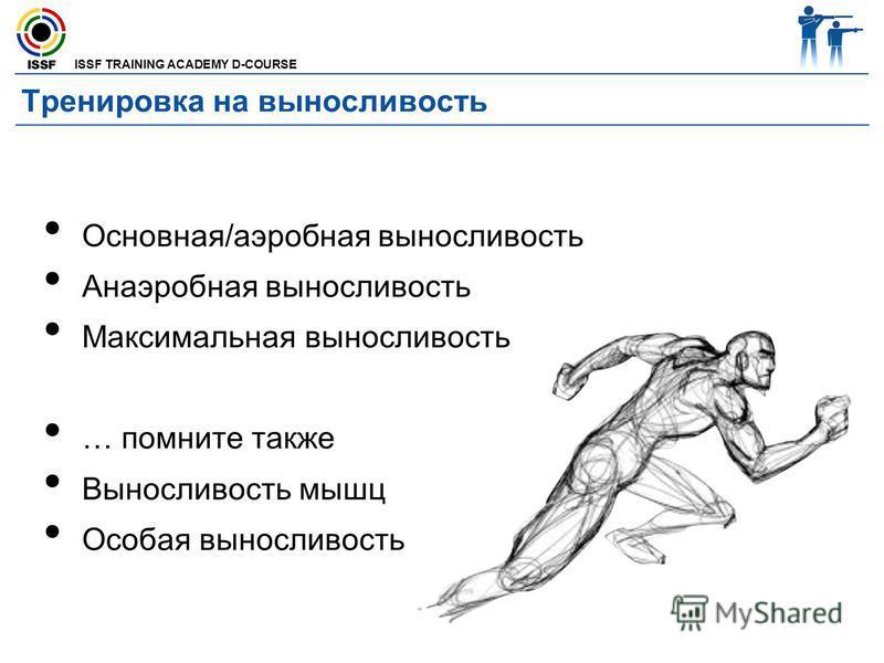 ISSF TRAINING ACADEMY D-COURSE Тренировка на выносливость Основная/аэробная выносливость Анаэробная выносливость Максимальная выносливость … помните также Выносливость мышц Особая выносливость
