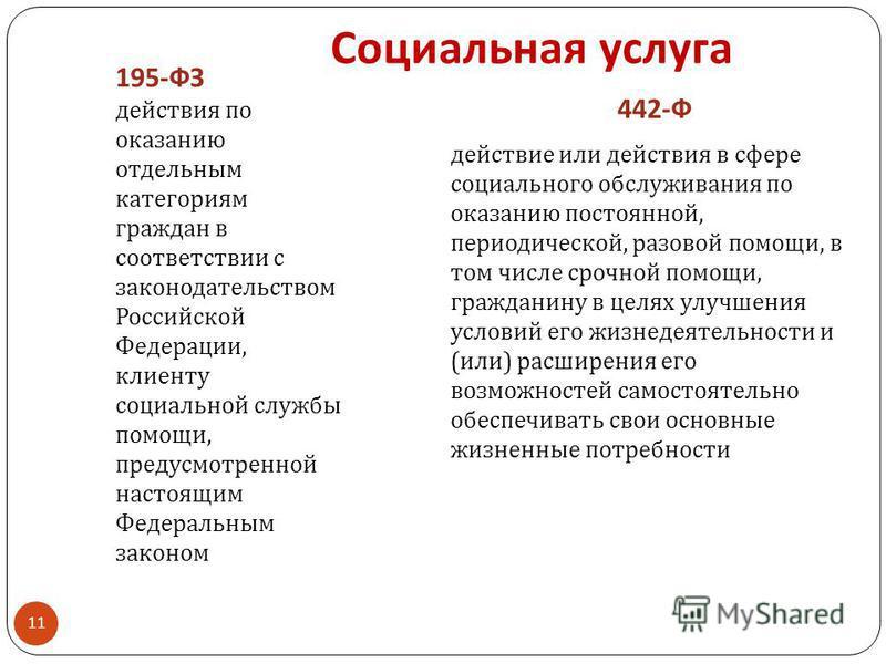 Социальная услуга 195-ФЗ действия по оказанию отдельным категориям граждан в соответствии с законодательством Российской Федерации, клиенту социальной службы помощи, предусмотренной настоящим Федеральным законом 442-Ф действие или действия в сфере со