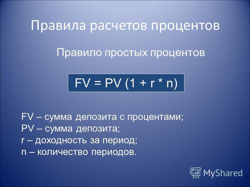 Правила расчетов процентов FV = PV (1 + r * n) Правило простых процентов FV – сумма депозита с процентами; PV – сумма депозита; r – доходность за период; n – количество периодов.