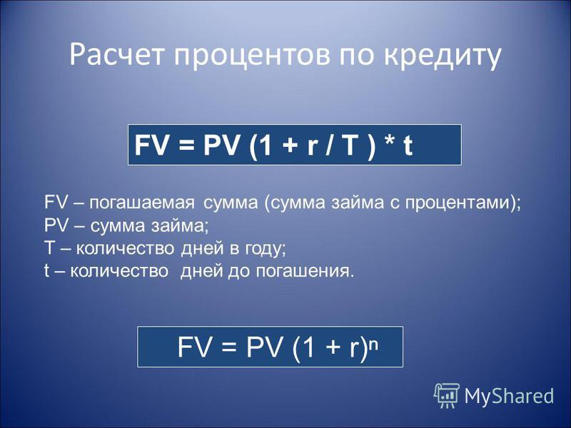 Расчет процентов по кредиту FV = PV (1 + r / T ) * t FV – погашаемая сумма (сумма займа с процентами); PV – сумма займа; T – количество дней в году; t – количество дней до погашения. FV = PV (1 + r)