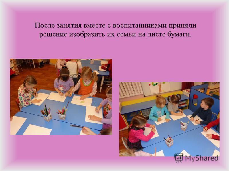После занятия вместе с воспитанниками приняли решение изобразить их семьи на листе бумаги.
