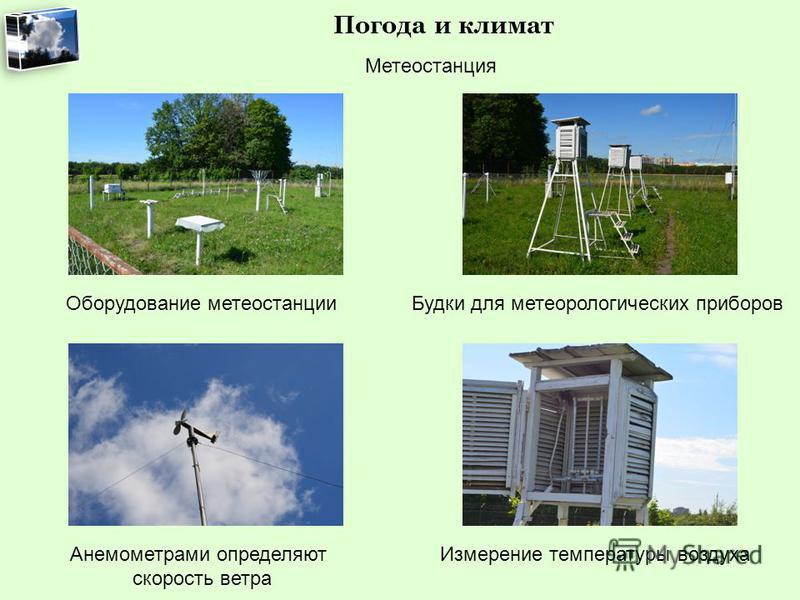 Погода и климат Метеостанция Оборудование метеостанции Будки для метеорологических приборов Анемометрами определяют скорость ветра Измерение температуры воздуха