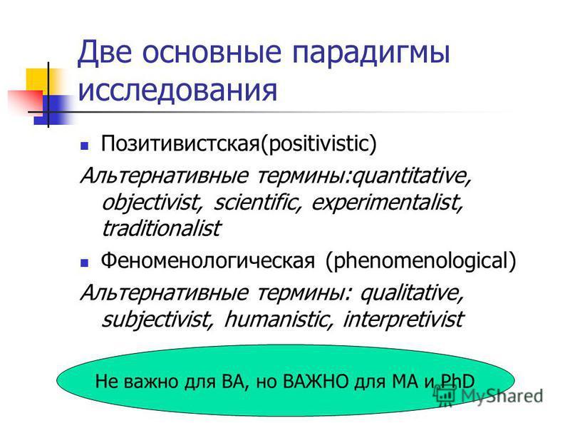 Две основные парадигмы исследования Позитивистская(positivistic) Альтернативные термины:quantitative, objectivist, scientific, experimentalist, traditionalist Феноменологическая (phenomenological) Альтернативные термины: qualitative, subjectivist, hu